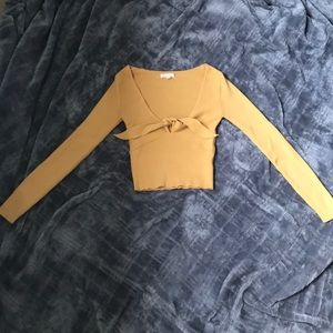 Yellow low cut tied crop top